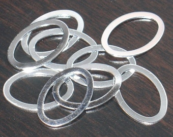 10 pcs of Silver-plated brass oval drop 22x15mm