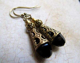 Jet Gothic Earrings Black Gold Game of Thrones Jewelry Black Dangle Earrings Victorian Earrings Handmade Art Deco-Dark Mystery
