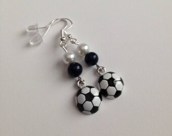 Soccer Earrings, Soccer Jewelry, Sports Jewelry, Sports Earrings, Soccer Mom Earrings, Soccer Mom Jewelry, Ships From USA