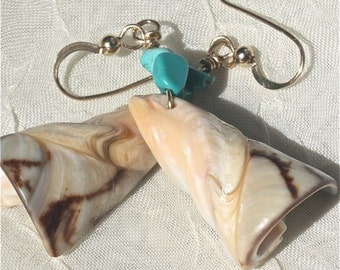 Earrings Shell and turquoise dangle primitive and earthy Blue and cream OOAK
