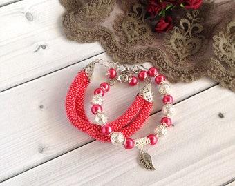 Red bracelets Set of  bracelet  Elegant bracelet  Beadwork jewelry  Gift for her  Women bracelet  Gift for mom