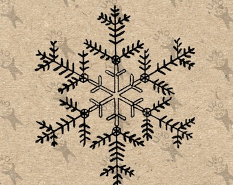 Vintage Christmas Snowflake Instant Download Digital printable clipart graphic Burlap Fabric Transfer Iron On Pillows Totes Towels HQ 300dpi