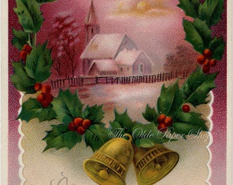 Vintage Christmas Postcard Pink Purple Country Church Scene Holly Berries Wreath
