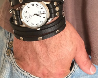 Men's Wrap Watch-Personalized Mens-Mens Personalized-Father's day-Rock Style-Watch-Men Watches-Bracelet Watch-Rock Men watch-watch for men
