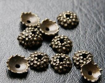 30pcs Antique Brass Color Base Metal Beading Caps (YB1650//A339)