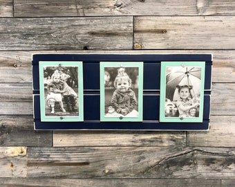 Distressed wood picture frame triple 4x6 navy blue and mint green , seafoam