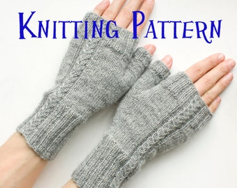 PDF Knitting Pattern - Wishbone Mitts, Fingerless Gloves Knitting Pattern, Cabled Fingerless Mittens, Wrist Warmers, Arm Warmers