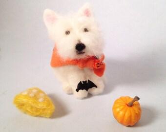 Westie figurine wearing a Halloween cape, ready to ship