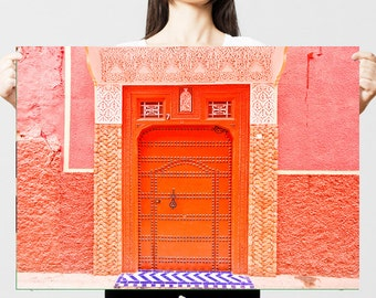 Morocco fine art print, Morocco photography, Morocco door print, pink - Inside the Pink City