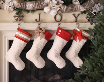 Christmas Stockings with Red Cuffs and Burlap Accents - Set of Four (4)