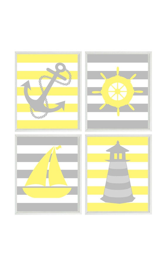 Nautical Nursery Wall Art Yellow Gray Nursery Decor Striped