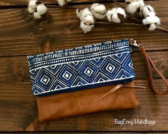 Fold Over Clutch - Stamped Aztec with Vegan Leather - Detachable Wristlet