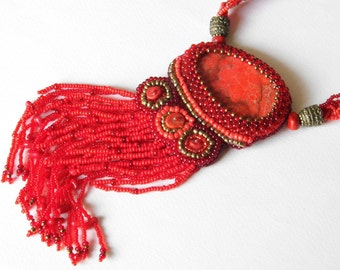 Beaded necklace with natural regalite cabochon and coral / beadwork / bead embroidery / statement necklace / pendant necklace