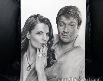 Original Graphite & Colored Pencil Drawing of Nathan Fillion and Stana Katic from TV's Castle (NOT a print)