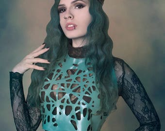 Alexa Latex Mesh Crop Top in Teal or ANY Colour