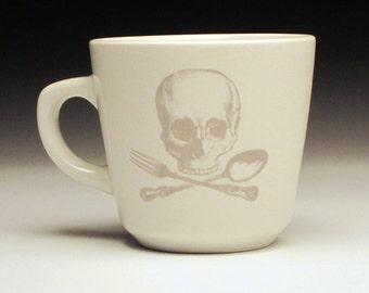 skull and cross utensils teacup in Ghostie Grey, skull mug, halloween mug, goth cup, pirate cup, tea cup, horror fan gift, goth home decor