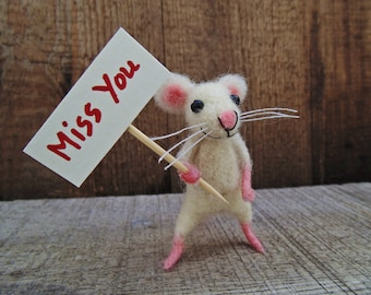 Gift for a loved one , Miss You Gift , Felted mouse , Cute Lovely Gift , White mouse , Miniature doll , Lovely Gift Ideas , Tiny felt