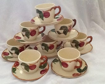 Vintage Franciscan Apple Ware Tea Cups and Saucers