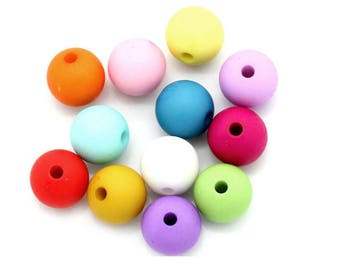 Lot of 20 Acrylic beads mixed color 10 mm
