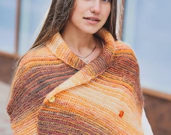 Winter women scarf Wool knit wrap Mohair scarf shawl Wool scarf shawl Multicolored wrap Winter shawl Knit scarves women Brown scarf women