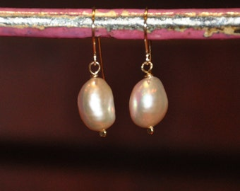 Glowing Pink Dangle Earrings, Hammered 14k-Gold-Fill, Beautiful and Simple