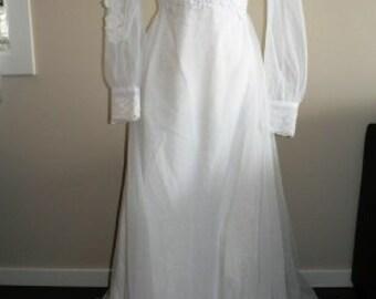 vintage wedding ... VINTAGE Bride SHEER Ruffled Train Wedding Dress  ... vintage wedding