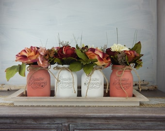 """Painted vases """"Shabby Chic flowers""""-Red color-Set Nr. 4 Cans medium-centerpieces-Home Decor-Flowers Centerpieces"""