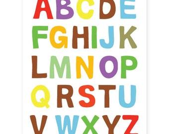 Nursery Wall Art, Print for Kids Room, ABC Print Alphabet Poster 11x14