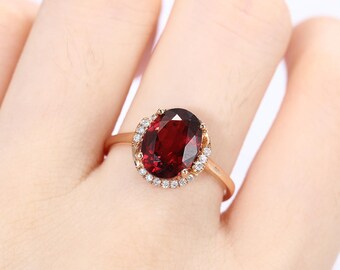 Unique engagement ring Garnet Vintage Rose gold Women Wedding Halo Dainty Antique Natural diamond Bridal set Jewelry Anniversary gift