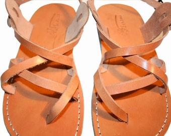 Caramel Triple Leather Sandals For Men & Women - Handmade Sandals, Leather Flats, Leather Flip Flops, Natural Caramel Unisex Sandals
