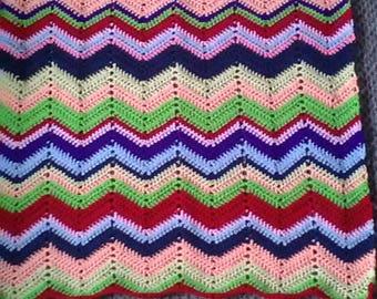 Homemade, crochet, baby, blanket, recycled yarn.