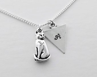CAT LOVER NECKLACE - pet lover gift, good cause, animal rescue, thoughtful gift, animal lover, gift wrapped, cats, stamped jewelry, kittys