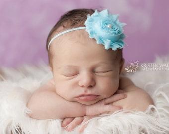 Blue Headbands, Frozen Headband, Headbands Blue, Blue Baby Headbands, Shabby Chic Headband, Newborn Headbands