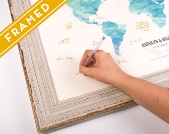 Wedding map guest book ultraviolet world map alternative wedding guest book watercolor world map rustic framed 16 x 20 in to 24 x gumiabroncs Choice Image