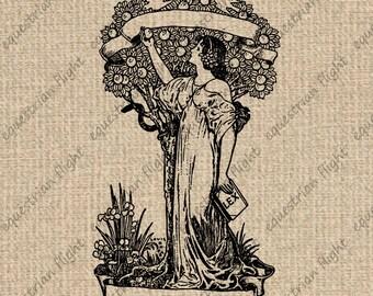 INSTANT DOWNLOAD Printable Art Nouveau Image Woman Graphics Art Nouveau Print Antique Images Digital College Sheet Download 300dpi HQ