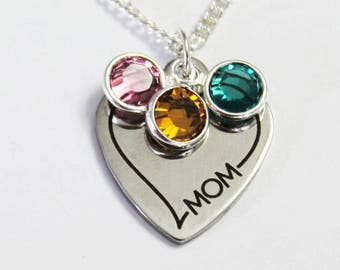 MOM NECKLACE. Mother's Day. Birthstone Necklace. Gift for Mom. Anniversary Gift. Valentines Gift. Mother's Day Gift. Mom. Gift for Mom