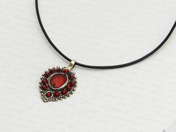 Vintage Kuchi Necklace with original red glass centerpiece - embellished with sparkly Siam Swarovski crystals