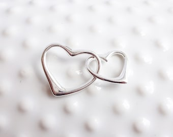 Sterling Silver Interlocking Floating Hearts Connector -- 1 Piece -- Big and Little Linked Heart