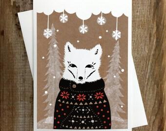 Winter Fox - Greeting Card Blank Inside Holiday Christmas Solstice Winter Animals