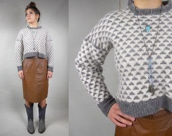 Vintage 1980s Wool Sweater / 80s Vintage Cropped Sweater / Vintage 80s Gray and White Felted Wool Cropped Sweater Top / 80s OOAK Sweater