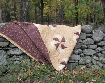 Vintage Unique Cozy Handmade King Size Quilt Pin Wheel Pattern Browns and Tans