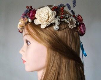 Lavender Flower Crown, Dried Floral crown, wedding wreath, Bridal Crown, Rustic crown, Floral Head Wreath, Hair Accessories, dried flower