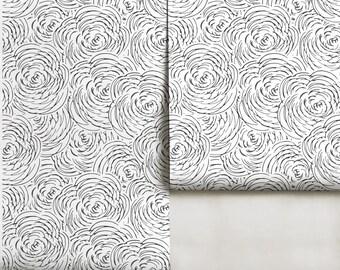 Sketched Flowers Peel 'n Stick or PrePasted Wallpaper