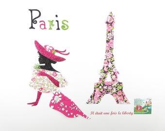 Applied fusing Eiffel Tower & elegant Chive Eloise liberty Capel woman + glitter flex applied liberty patterns paris