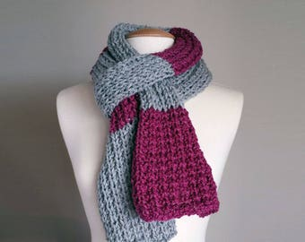 Hand knit scarf, sparkly yarn scarf, chunky warm winter scarf, gifts for her