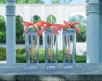 Personalized Tumbler Wedding Favors Bridesmaid Tumbler Bridal Party Gifts Bachelorette Party Skinny Tumbler with Straw and Lid  Bride Team