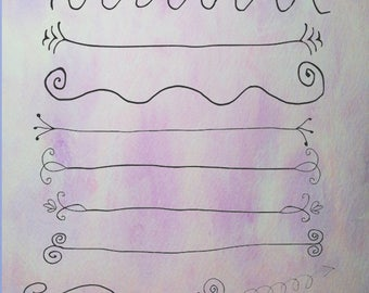 Hand Drawn Borders,Decorative Borders, Digital Clipart, Instant Download