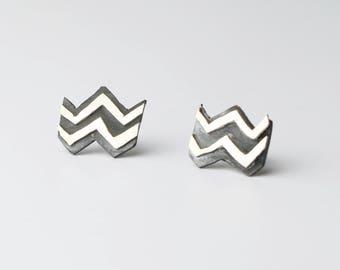 Silver and Copper Zig Zag Earrings Twin Peaks Inspired