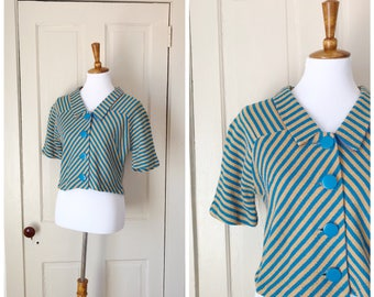 Little Circus 1960s Short Sleeve Cropped Bright Blue/Tan Striped Button Up Blouse with Pointed Collar Detail