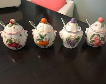 4 Vintage Lenox Jam Jars plus 2 free jars and 1 spoon no lids